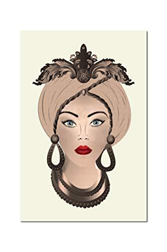 Quadro su Tela, Testa di Moro Donna. Seppiato su Sfondo Panna. Sicilian Art Design. 60 x 90 cm. Misure Personalizzabili su Richiesta.