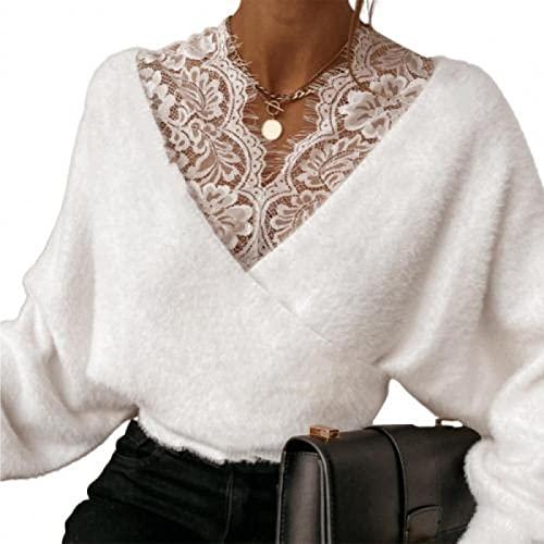 FSUYWQ Damska Bluzka Jesienno-Zimowa Jednokolorowa Koronkowa Patchworkowa V Neck z Długim Rękawem Casual Topy Koszule Oversize M Biały