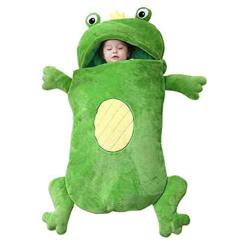 Winter warm Babyschlafsack Kleinkinder Froschschlafsack Kinderschlafsack Anti-Kick-Artefakt Baby Schlafsack gefüttert Jungen Mädchen Schlafsack für Kleinkinder Wald Tiere Schlafsäcke (Grün)