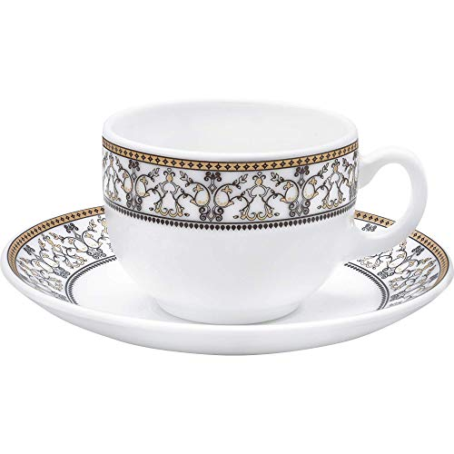 LaOpala Glass Cup Saucer Set of 12 Pcs Moroccan Gold