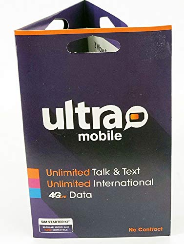 Ultra Mobile Sim Preloaded with 29.99 Unlimited Talk, Text, International Text and Data 100MB on 4G (T-Mobile Network) Plan Red Sim 1000 Free International Minutes