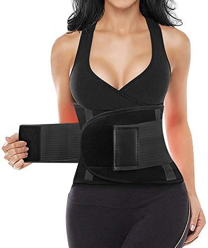 LUMEKO Waist Trainer Belt for Women & Man - Waist Cincher Trimmer - Tummy Control Sport Workout Body Shaper (Black, Large)