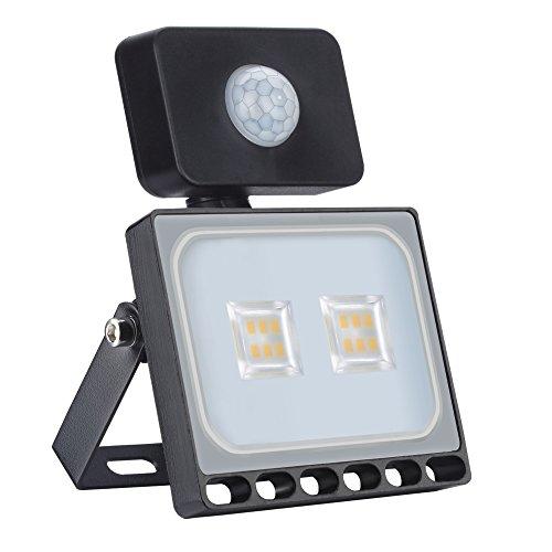 10W Luz de inundación al Aire Libre SMD Luces de la Seguridad con Sensor de Movimiento, IP65 Impermeable lámpara Ahorro de energía para el Patio, jardín, Garaje, almacén, Blanco frío 6500K