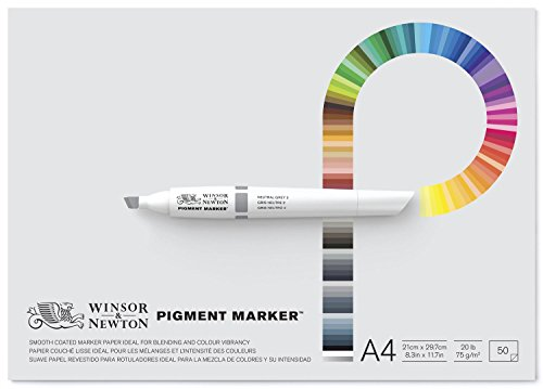 Winsor & Newton Pigment Marker - Pack de 50 hojas de papel para rotuladores, tamaño A4