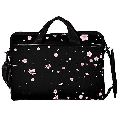 Pinke Blume Laptop-Tasche Umhängetasche für Notebook Tablet mit verstellbarem Schultergurt Canvas Messenger Aktentasche Handtasche Hülle für Frau, Mann 38.1x27.94x2.54cm