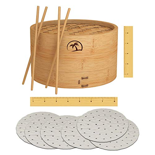 DEALZNDEALZ 08 inch Handmade Natural Bamboo Dumpling Steamer 2 Tiers Basket with Lid includes 50 Wax Papers, 2 Pair of Chopsticks – Perfect for Asian Cooking