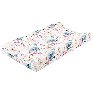 """Baby Floral Diaper Changing Pad Cover Cradle Mattress Sheets, Infant Stretchy Fabric Changing Table Cover Changing Mat Cover Baby Nursery Diaper Changing Pad Sheets 32""""X 16"""" (Watercolor Flowers)"""