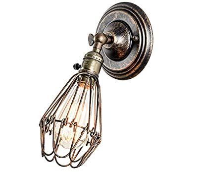 JKLcom Wire Cage Wall Sconce Light Industrial Opening and Closing Light Wall Light Vintage Retro Antique Wall Mounted Lamp with Swith,for Bedroom Farmhouse Garage Barn Door Porch Bar,Oil Rubbed Bronze