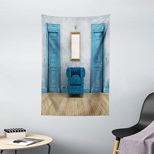 Tapiz de Pared Tapestry Tapiz antiguo Espacio vacío Sillón de 2 puertas y espejo simple Colgante de pared con marco amarillo dorado Tapestries 80 * 60inch