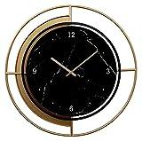 Relojes de pared Reloj de pared de metal Reloj de pared de cuarzo silencioso Sin garrapata Batería con pila de pared Reloj de pared redondo Oficina Decoración de la pared Reloj de pared ( Color : A )