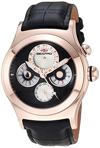 Seapro, orologio casual da uomo con cronoscopio in acciaio inox, al quarzo, nero, 24 (modello: SP0134)
