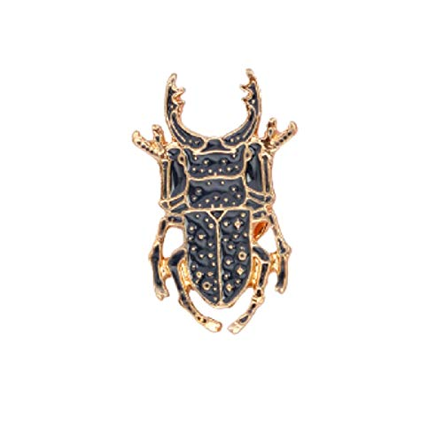 wangk Escarabajo Insecto Metal Broche Pin botón Negro Animel Icono Pin Mochila Denim Chaqueta Collar Lapel Insignia joyería para niños
