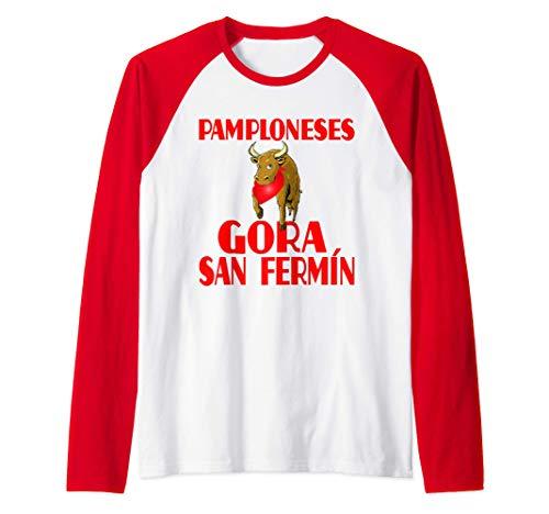 Diseño Divertido Para Pamploneses En San Fermín Camiseta Manga Raglan