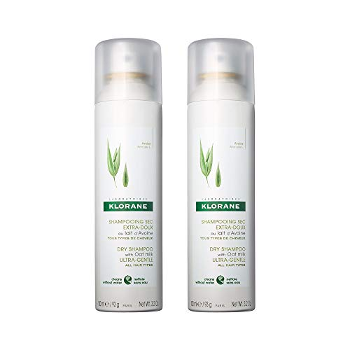 Klorane Dry Shampoo with Oat Milk, Ultra-Gentle, All Hair Types, No White Residue, Paraben & Sulfate-Free, Duo Set