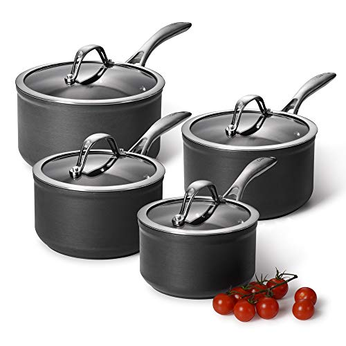 ProCook Professional Anodised Non-Stick Saucepan Set - 4 Piece - Induction Pans for Simmering Pasta, Boiling Rice, Cooking Vegetables and More - Oven Proof - Dishwasher Safe