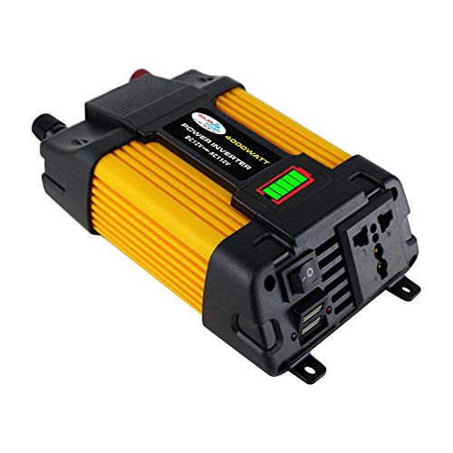 negaor Modified Sine Wave Inverter High Frequency 6000W Peak Power Inverter DC 12V to AC 110V Converter Car Power r Inverter with 2.1A Dual USB Port Battery Clips LED Battery Capacity Display Power I