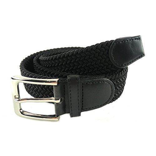 MYB Cintura elastica intrecciata per Uomo e Donna - diversi colori e dimensioni (105-110 cm, Nero)