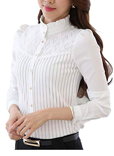 Smile Fish Women's Vintage Collared Pleated Button Down Shirt Long Sleeve Lace Stretchy Blouse...