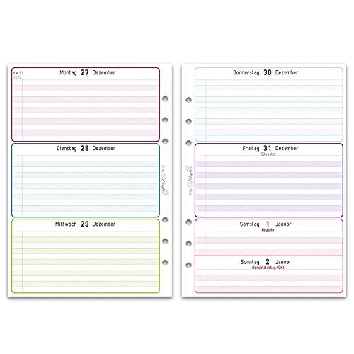SinnWunder® Premium-Kalendereinlagen - Wochenplan mit 1 Woche auf 2 Seiten - LuckySinn (2022 - Din A5)