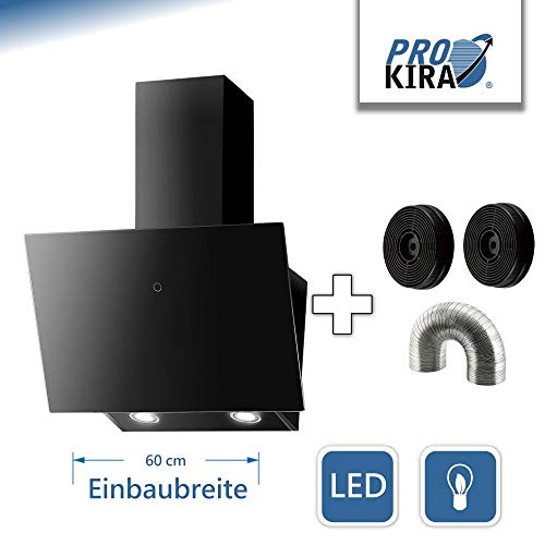 Prokira DH60 GB-02 de Luxe 600m³/h Wandhaube Kopffreihaube Haube Abluft Umluft Dunstabzugshaube Schwarz,LED, touch control, Glas 600m³/h !!!