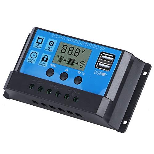 Taidda Regulador de Carga Solar, Controlador Solar Dual USB automático de 12V 24V, con Pantalla LCD 30A Suministro doméstico para Sistema fotovoltaico doméstico