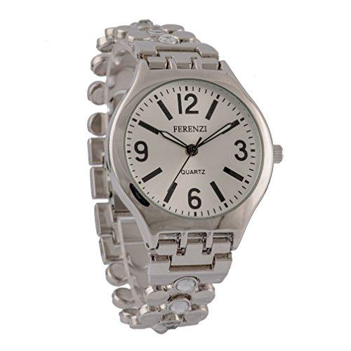 Ferenzi Mujer | Elegante Reloj de pulsera con cadena de eslabones de plata y cristal con tachuelas | FZ12001 (Reloj)