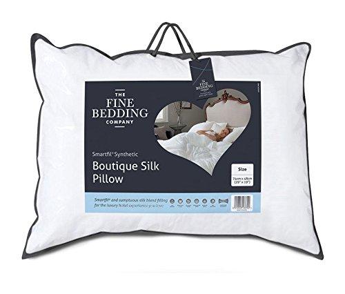 The Fine Bedding Company, Boutique Silk Pillow, Microfibre Standard Size Pillow, 100% Cotton Soft Touch Cover, Machine Washable