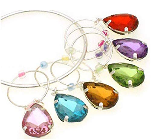 Set of 6 Teardrop Colorful Jewels Wine Glass Charms Markers
