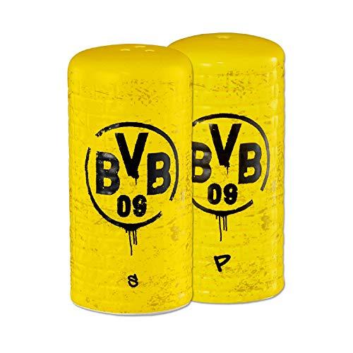 Borussia Dortmund, BVB-Salz- und Pfefferstreuer Gelbe Wand (2er-Set), gelb, schwarz, 0