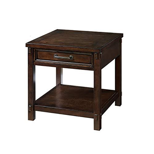table basse Côté salon en bois massif avec tiroir Table rectangulaire simple (taille : 60cm*60cm*60.5cm)