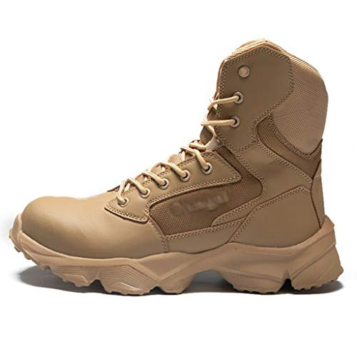 TAOBEGJ Combat Tactical Boots Steel Toe Security Police Boot Outdoor Hiking Desert Military Boots Lightweight Large Size Jungle Training Army Shoes,Khaki-45