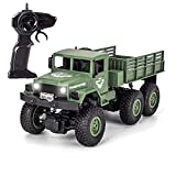 XINGRUI 50 Minutes Playing Time RC Military Truck, JJRC Q69 Off-Road Remote Control Car 2.4Ghz 4WD 1:18 Scale Toy Vehicle for Kids Children Boy Gift