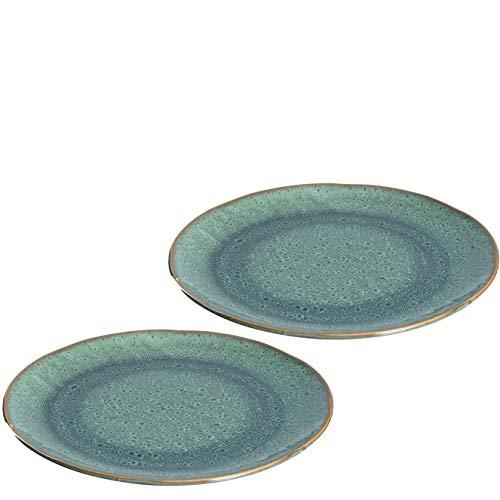 Leonardo Matera Keramik-Teller 2-er Set, spülmaschinengeeignete Speise-Teller, Essteller mit Glasur, 2 runde Steingut-Teller grün, Ø 22,5 cm, 026985
