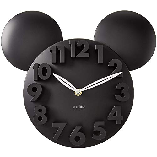 MEIDI CLOCK Modern Design Mickey Mouse Big Digit 3D Wall Clock Home Decor Decoration - Black