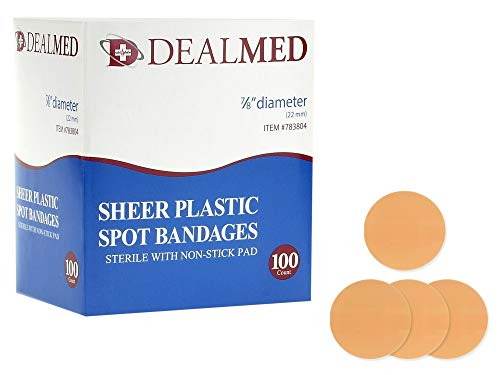 Dealmed Sheer Plastic Spot Bandages, Sterile with Non-Stick Pad, 7/8' Diameter, 100 Count (1 Pack)