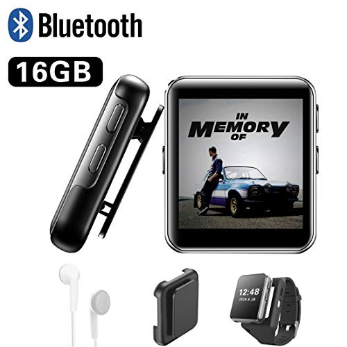16GB Clip MP3 Player with Bluetooth, Sports Watch MP3 Player with Touch Screen, Mini MP3 Player with Headphones,Voice Recorder,E-Book,HiFi Lossless Sound Music Player for Running, 1.5 Inch,Black