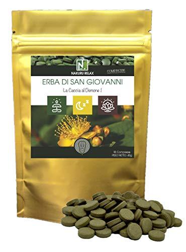 Erba di San Giovanni / 90 compresse da 500mg / NAKURU Relax/Polvere organica secca e compressa a freddo/Analizzata e condizionata in Francia /'La Caccia al Demone!' (Dorato)