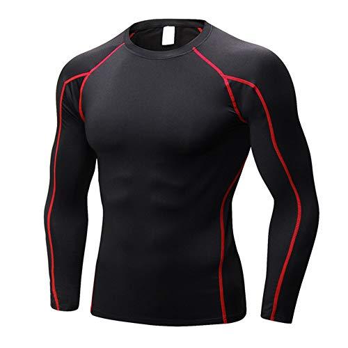 LaMei Yang Vestido, Aptitud, Deportes, Correr, Entrenamiento, Estiramiento, Vestido de Secado rápido Deportes Apretados de los Hombres,Black Red Line,XL