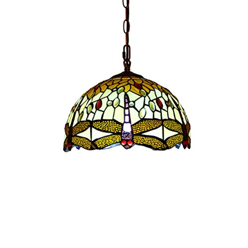 LYEJFF Tiffany Art Pendentif Lumière Fixture Pastoral Créatif Peinture en Verre et Jeweled Libellule Design Suspension Plafonnier Salle à Manger Bar Lustre Éclairage, Verre, b, size