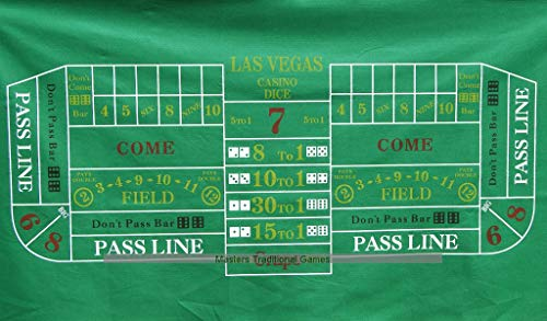 Masters Traditional Games Craps Layout 180 x 90cm Green