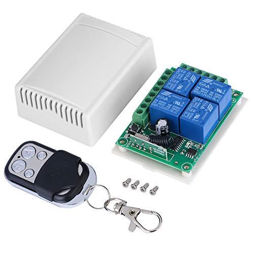 Interruptor de control remoto inalámbrico de canal, interruptor de control remoto multifunción DC12V 4-CH 433MHZ, tablero de receptor de interruptor de control de puertas de garaje con control remoto