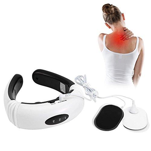 Massaggiatore per collo, massaggiante massaggiatore cervicale e spalle con calore massaggio muscolare collo schiena, dispositivo di retro impulso elettrico terapia magnetica apparecchio di massaggio d