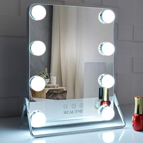 BEAUTME Espejo de maquillaje iluminado, Espejo de tocador de mesa con tira de luz LED, Espejo de belleza, 3 modos de color con brillo de pantalla táctil ajustable, Espejo de tocador plateado