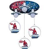 Plafond LED Spiderman remorque Lampe Pendentif décoratif 30W E27 + 3 plafonnier * pépinière Lampe Pendentif Chambre Creative Anneau Minimaliste Lampe Neutre Suspendu lumière Ø50cm