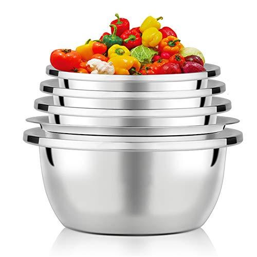 Edelstahl-Rührschüsseln / 5er-Set/Nistschüsseln, pflegeleicht, korrosionsbeständig für platzsparende Aufbewahrung, ideal zum Kochen, Backen, Vorbereiten von 1,6 kg