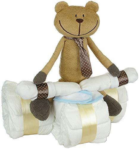 dubistda© Windeldreirad mit Fahrer Bär - Baby Geschenk zur Geburt/Windeltorte 42-teilig