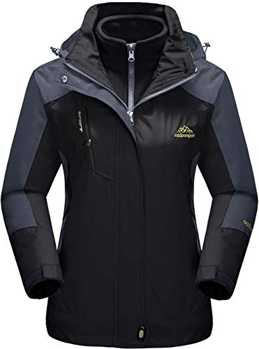 TACVASEN Damen 3-in-1 Jacke Wasserdicht Fleece Gefüttert Kapuzenmantel für Winter Outdoor Ski Sports, Schwarz, XL