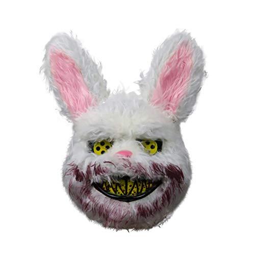 Merkts Máscara de conejo de conejo de zombi de miedo, máscara de Halloween, disfraz de Halloween