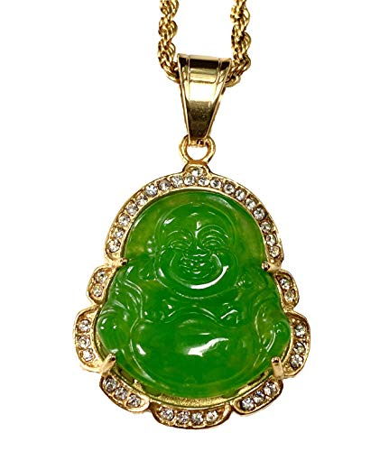 Iced Laughing Buddha Green Jade Pendant Necklace Rope Chain Genuine Certified Grade A Jadeite Jade Hand Crafted, Jade Necklace, 14k Gold Filled Laughing Jade Buddha Necklace, Jade Medallion, Fast Prime Shipping (18' NECKLACE)