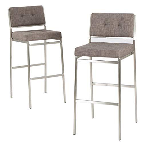 Christopher Knight Home Qyto Fabric Barstools, 2-Pcs Set, Light Grey